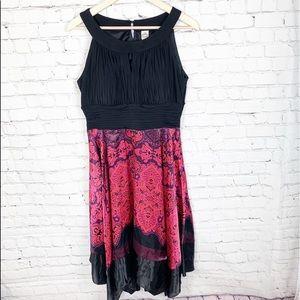 Sangria Grecian Silky Flowy Paisley Dress